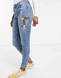 Urban Bliss Lolly Embroidered Skinny Jeans Blue