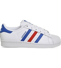 Adidas Superstar 1 Low Top Leather Trainers White Blue Red
