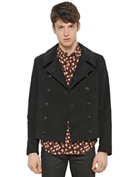 Saint Laurent Double Breasted Cotton Fustian Peacoat Black