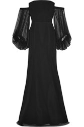 Rebecca Vallance Orlando Off The Shoulder Point D'esprit And Crepe Gown Black