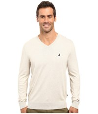 Nautica Solid V Neck Sweater Oatmeal Heather Men's Sweater Beige