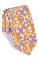 Men's Ted Baker London 'Swimsuit' Floral Cotton Tie Orange