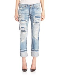 Tortoise Distressed Bleached Jeans Light Arpeggio With Knit Patch