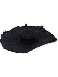 Horisaki Design And Handel Distressed Wide Brim Hat Black