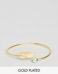 Ottoman Hands Feather And Crystal Cuff Gold