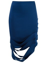 Gloria Coelho Asymmetric Midi Skirt Blue