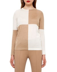 Akris Colorblock Crewneck Sweater Camel Moonstone Camel Moonstone