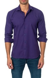 Jared Lang Long Sleeve Houndstooth Semi Fitted Shirt Purple