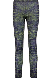 Mcq By Alexander Mcqueen Printed Stretch Jersey Leggings Blue