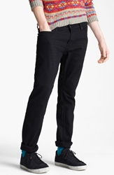 Topman 'Morgan' Skinny Stretch Twill Jeans Denim Black