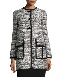 Nanette Lepore Long Sleeve Button Front Topper Coat Black Ivory