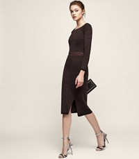 Reiss Cassie Knitted Pencil Skirt In Chocolate