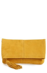 Leith Suede Clutch Yellow Mustard