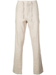 Onia Tailored Straight Leg Collin Trousers Neutrals