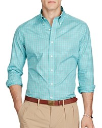 Polo Ralph Lauren Plaid Poplin Classic Fit Button Down Shirt Teal Orange