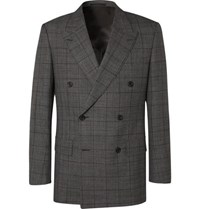 Kingsman Grey Slim Fit Double Breasted Prince Of Wales Checked Wool Suit Jacket Gray