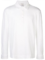 Massimo Alba Long Sleeve Polo Shirt White