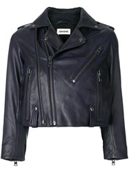 Zadig And Voltaire Liyo Cropped Biker Jacket Blue