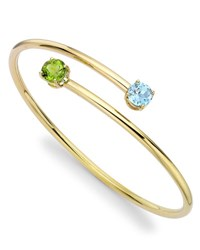 Kiki Mcdonough Eternal Blue Topaz And Peridot Twist Bangle