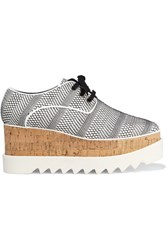 Stella Mccartney Elyse Woven Faux Leather Platform Brogues Light Gray
