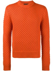 Calvin Klein 205W39nyc Jacquard Sweater Wool Polyacrylic L Yellow Orange