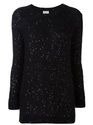 Saint Laurent Sequin Embellished Sweater Black