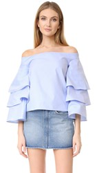 Endless Rose Three Layers Sleeve Top Dusty Blue