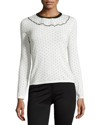 Red Valentino Polka Dot Ruffle Neck Sweater Ivory Black