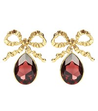 Jennifer Behr Bow Crystal Drop Earrings Gold