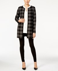 Charter Club Plaid Duster Coat Only At Macy's Deep Black Combo