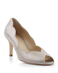 Hobbs London Violet Scalloped Peep Toe High Heel Pumps Silver
