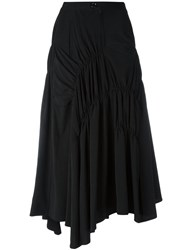 Y's Gathered A Line Skirt Women Polyester Triacetate 1 Black
