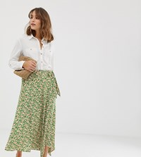 New Look Ditsy Floral Wrap Skirt In Green