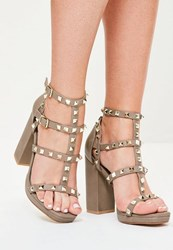 Missguided Grey Gladiator Studded Block Heel Sandals Taupe