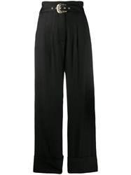 Just Cavalli Belted Palazzo Trousers Black