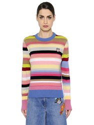 Kenzo Striped Cotton Blend Knit Sweater