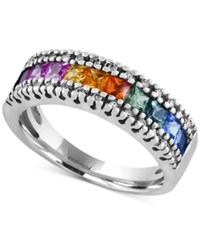 Effy Collection Watercolors By Effy Multi Sapphire 1 1 3 Ct. T.W. And Diamond 1 8 Ct. T.W. Band In 14K White Gold