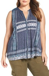 Lucky Brand Plus Size Women's Embroidered Tank Blue Multi
