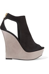 Balmain Amaya Cutout Suede And Mirrored Leather Wedge Sandals Black