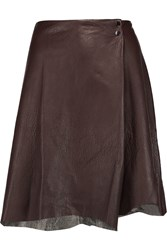 3.1 Phillip Lim Asymmetric Leather Mini Skirt Brown