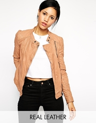 Muubaa Ursae Quilted Leather Biker Jacket Mink