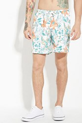 Forever 21 Trunks Tropical San O Short White Orange