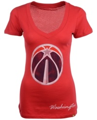 Sportiqe Women's Short Sleeve Washington Wizards V Neck T Shirt Red