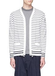 Sacai Stripe Bungee Drawstring Hem Cardigan Multi Colour