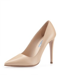 Prada Leather High Heel Pointy Pump Nude