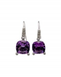 Poiray 18K White Gold Amethyst And Diamond Drop Earrings Purple