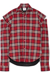 Vetements Oversized Cutout Plaid Cotton Flannel Shirt Red