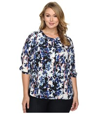 Nydj Plus Size Solid 3 4 Sleeve Pleat Back Bohemia Bouquet Women's Long Sleeve Button Up Multi