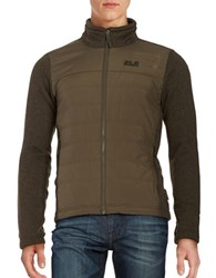 Jack Wolfskin Water Repellant Quilted Jacket Olive Brown