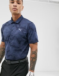 Puma Golf Camo Polo In Navy